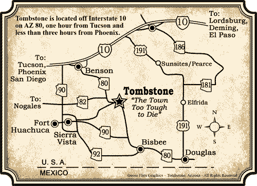 Southern Arizona Map to Tombstone